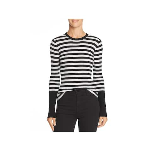 ATM Womens Pullover Sweater Merino Wool Striped - Black/White Stripe