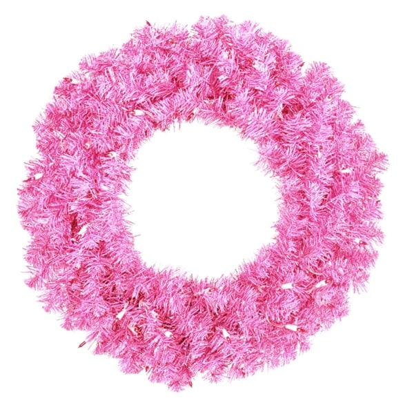 "24"" Pre-Lit Sparkling Hot Pink Artificial Christmas Wreath - Pink Lights"