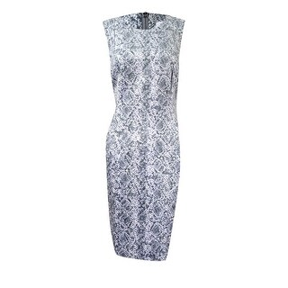 Calvin Klein Women's Petite Faux-Suede Printed Sheath Dress - tin