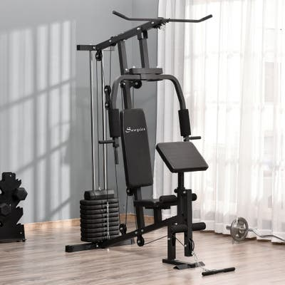 Soozier Home Power Tower Multifunction Workout Rack with Poll-up Stand & Dip Station, Weight Stack Machine for Whole Body