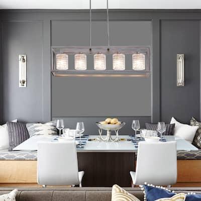 "Porch & Den Savoy Cut Crystal 5-light Linear Chandelier - 36.22"" D x 7.87"" W x 8.66"" H inches"