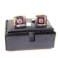 NCAA Auburn Tigers Square Cufflinks with Square Shape Logo Design Gift Box Set
