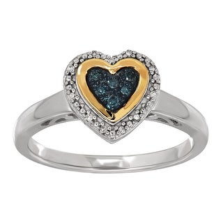 Heart Ring with Blue & White Diamonds in Sterling Silver & 14K Gold