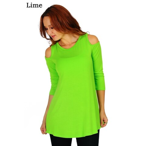 Simply Ravishing Women's Cold Shoulder Flare 3/4 Sleeve Blouse Top Tunic Shirt (Size: S-5X)