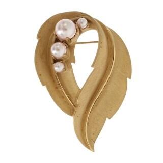 Dolce & Gabbana Gold Leaf Crystal Stones Brooch