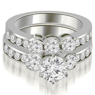 2.75 CT Bezel 3-Stone Round Cut Diamond Engagement Set in 14KT Gold - White H-I
