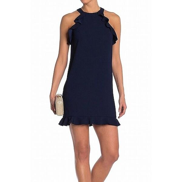 1c97a8a6675851 Shop Trina Turk Midnight Blue Womens Size 2 Myer Ruffle Sheath Dress ...