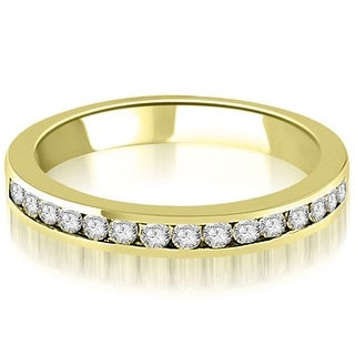 0.30 cttw. 14K Yellow Gold Round Diamond Classic Channel Wedding Band (Option: 3)