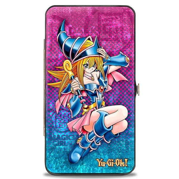Dark Magician Girl Pose Yu Gi Oh! Halftone Pinks Blues Hinged Wallet - One Size Fits most