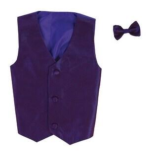 Baby Boys Purple Poly Silk Vest Bowtie Special Occasion Set 3-24M