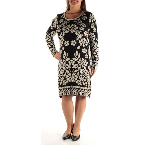 Womens Black Ivory Long Sleeve Knee Length Sheath Wear To Work Dress Size: XL