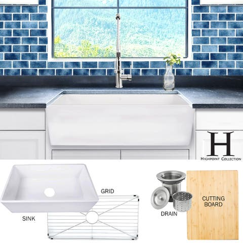 Highpoint Collection 33-inch Matte Stone Farmhouse Sink with Accessories