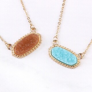 Riah Fashion's Druzy Stone Oval Pendant Necklace