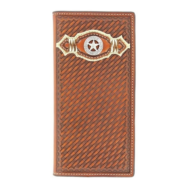 Nocona Western Wallet Mens Leather Rodeo Star Weave Redwood - One size