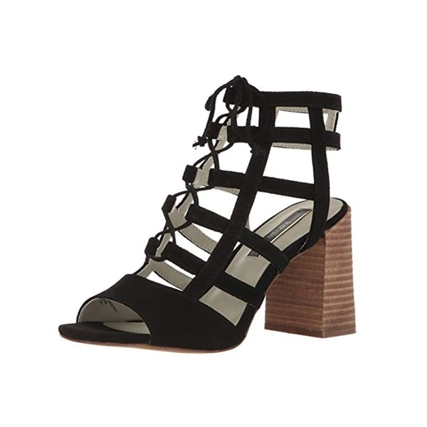Kensie Womens Shawna Block Heels Strappy Lace-Up