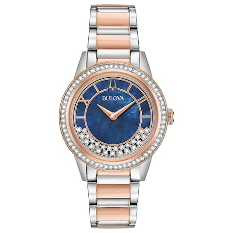 Bulova Women's 98L261 TurnStyle Crystal Blue Dial Two-tone Bracelet Watch