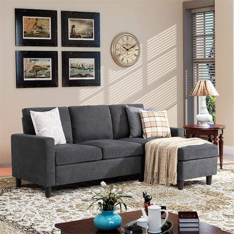 Reversible L-shaped Sectional Sofa Couch with Modern Linen Fabric for Small Space - 77.55 x 27.56 x 35.43