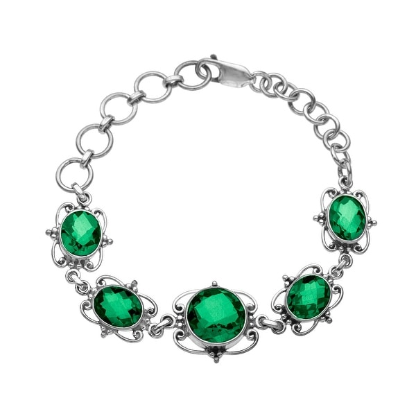 Sajen Celestial Dark Green Quartz Bracelet in Sterling Silver