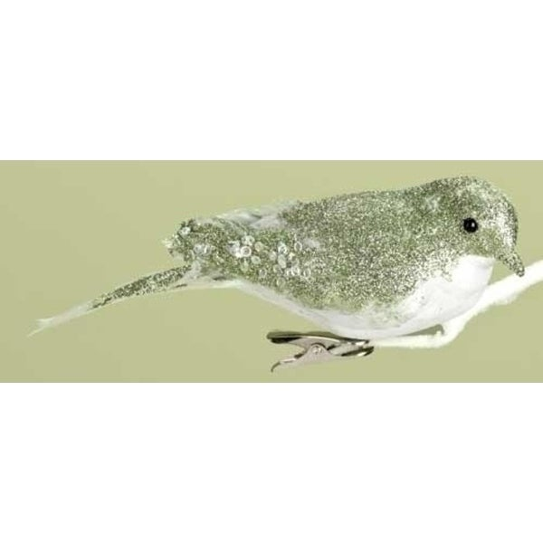 """6.75"""" Good Tidings Green and White Glittered Clip-On Bird Christmas Ornament"""