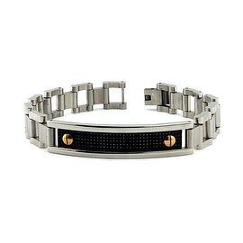 Stainless Steel Link Bracelet with Black Carbon Fiber Inlay (11mm) - 8.0 Inches
