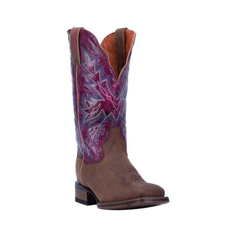 "Dan Post Western Boots Womens Pasadena Square Toe 12"" Brown"