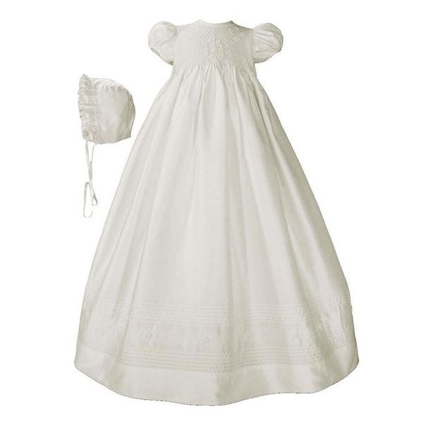 Baby Girls White Silk Smocked Bodice Christening Dress Outfit