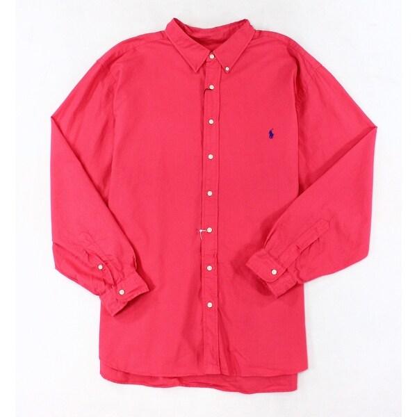 d2fe0249 Polo Ralph Lauren NEW Trop Pink Mens Size 2XLT Logo Button Down Shirt