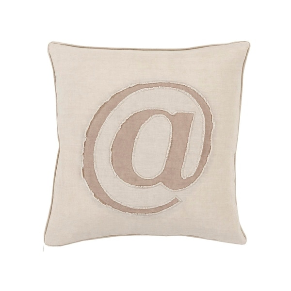 "22"" Taupe and Fawn Brown Trending ""@"" Novelty Throw Pillow – Down Filled"