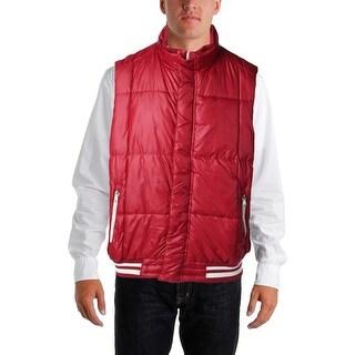 Izod Mens Ribbed Trim Puffer Vest - XL