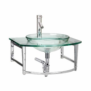 Small Glass Sink with Faucet Wall Mount Renovator's Supply