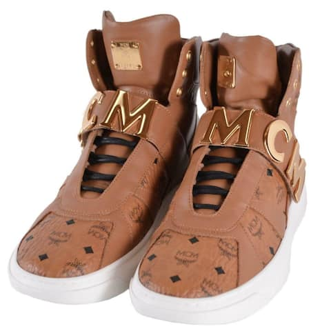 MCM Men's Cognac Leather Visetos Logo High Top Sneakers Shoes W/Plaque