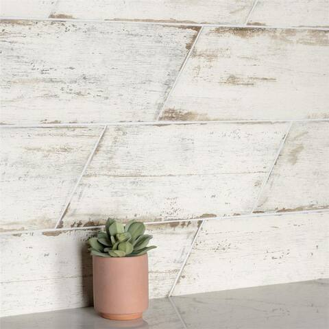 SomerTile 7.125x16.375-inch Lambris Naveta Blanc Porcelain Floor and Wall Tile
