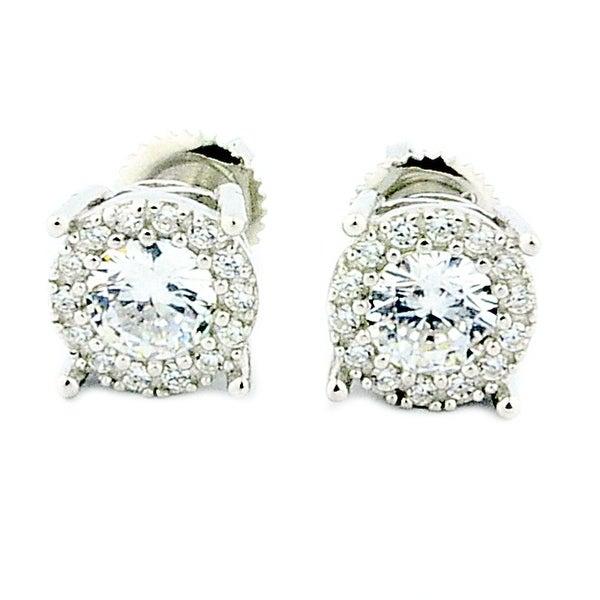 4CT Size Earrings Sterling Silver 8mm Wide Sterling Silver Screw Back Studs By MidwestJewellery