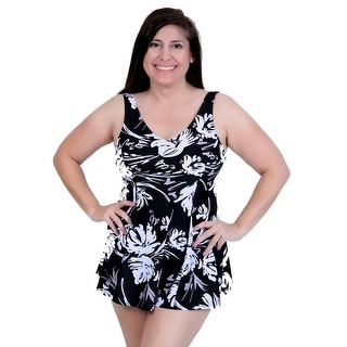 Deep Blue Swim by Oxygen's Black/White Floral Print V-Neck Swimdress with Tank Style Straps and Princess Side Seams