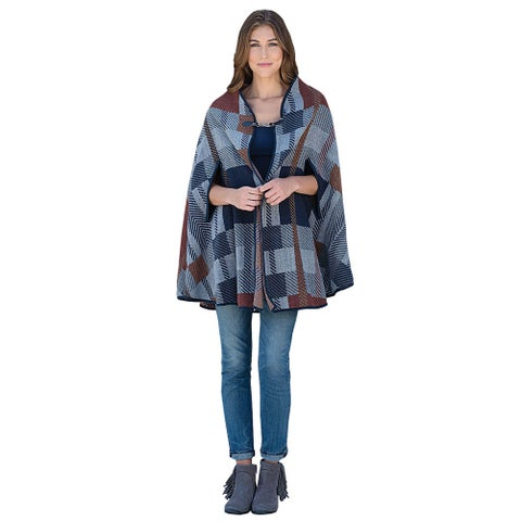 Women's Sedona Blue and Brown Plaid Hooded Poncho Capelet - MEDIUM