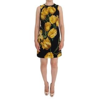 Dolce & Gabbana Black Yellow Tulip Print Wool Shift Dress - it36-xs
