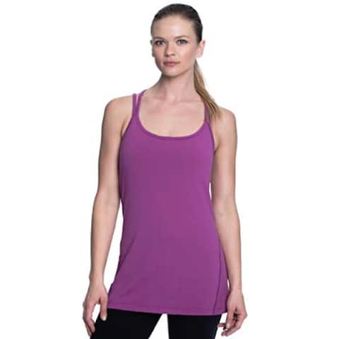 Gaiam Women's Strappy Racerback Tank Top with Built In Medium Impact Sports Bra Size Small - Purple