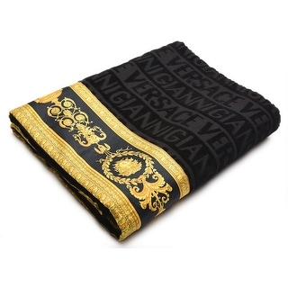 Gianni Versace Unisex Large Throw Bath Beach Towel Medusa Head Barocco Detail Black