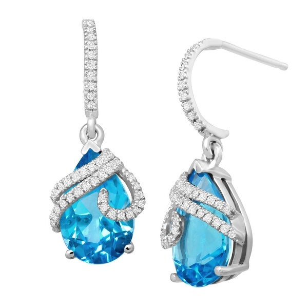 6 ct Natural Swiss Blue Topaz & 1/5 ct Diamond Drop Earrings in 10K White Gold