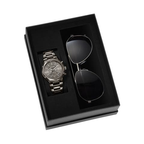 Bulova Men's 98K100 Strainless Chrono Watch and Sunglass Box Gift Set - Silver-Tone