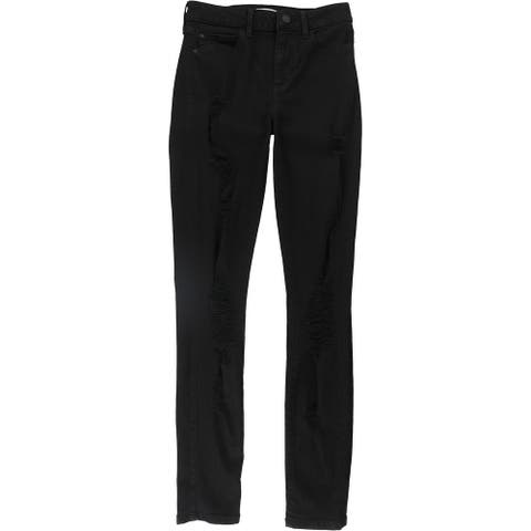 GUESS Womens 1981 Destroyed Skinny Fit Jeans, Black, 29
