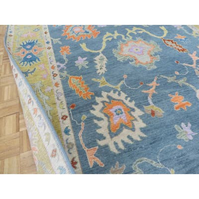 """Hand Knotted Denim Blue Oushak with Wool Oriental Rug (8'1"""" x 9'10"""") - 8'1"""" x 9'10"""""""