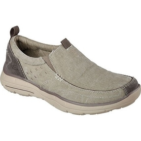 Skechers Men's Relaxed Fit Glides Benideck Slip On,Khaki,US 7.5 M