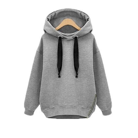 Women Oversized Hoodies Long Sweatshirt Side Zip Jacket Coat Tops Plus Casual Sweatshirts