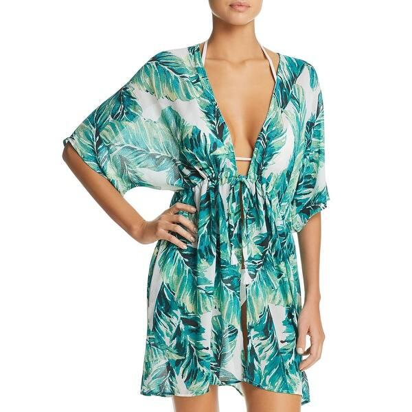 Shop J Valdi Womens Botanical Beachwear Kimono Swim Cover Up Green White Overstock 31248890