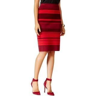 Anne Klein Womens Pencil Skirt Wool Blend Striped
