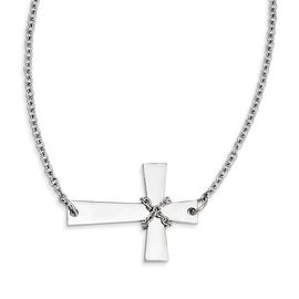 Chisel Stainless Steel Sideways Cross with Chain Necklace (3 mm) - 21.5 in