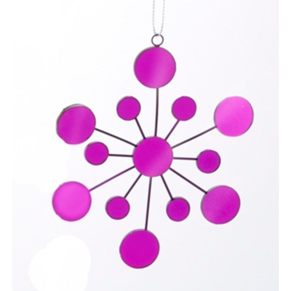 "4.25"" Tween Christmas Purple Glass Mirrored Snowflake Christmas Ornament"