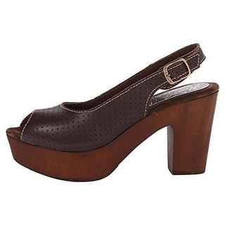 Romantic Soles Womens Faya Leather Peep-Toe Platform Heels - 7