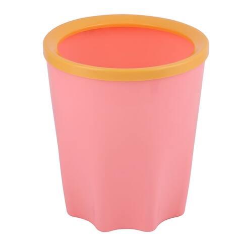 Plastic Table Desktop Mini Waste Rubbish Bin Garbage Trash Can Pink 17 x 15cm